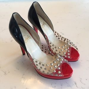 black christian louboutin studded red bottoms 42